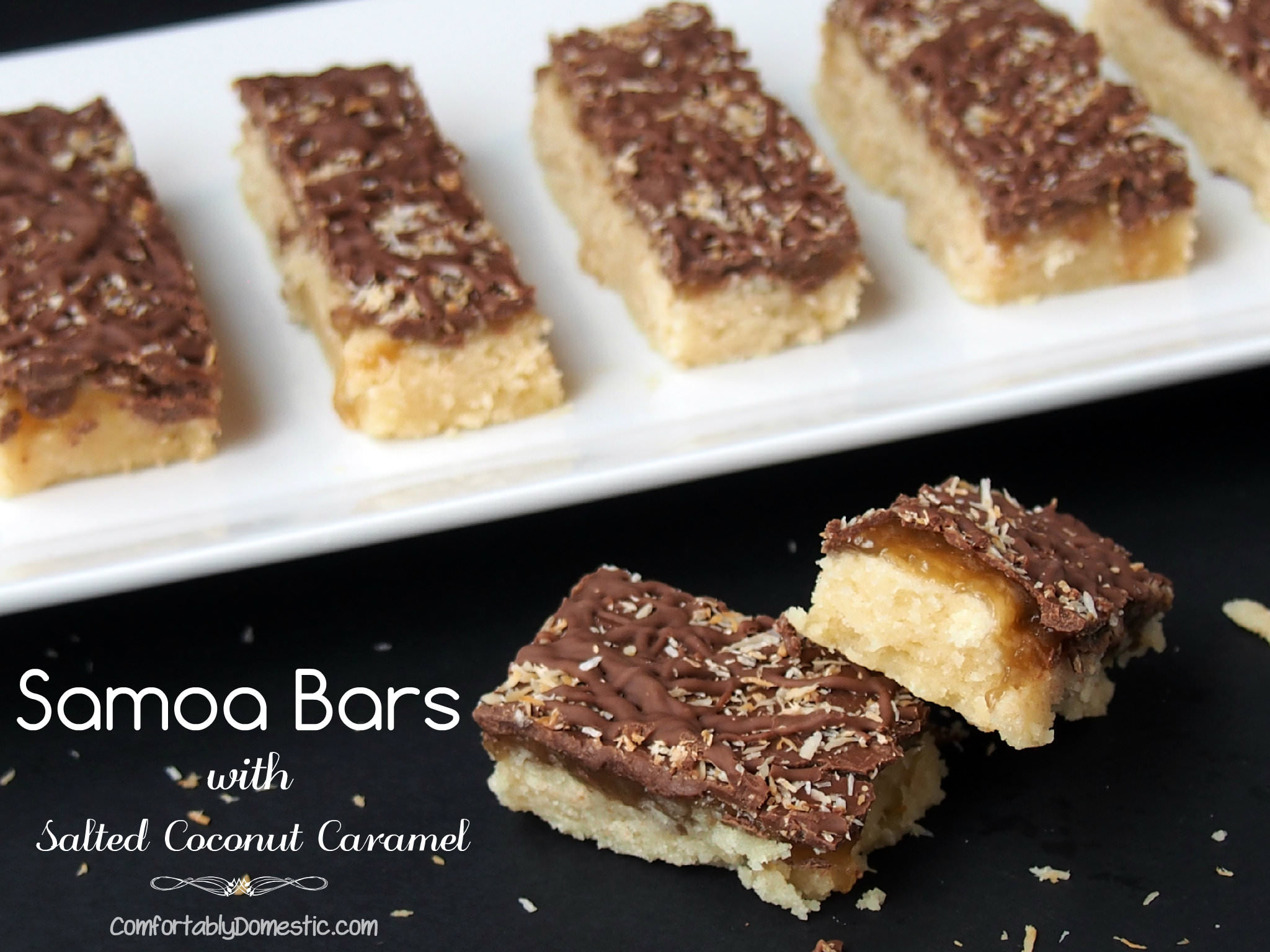 Samoa Bars are reminiscent of the popular Girl Scout Cookie. Crisp, buttery shortbread, smothered with a thin layer of dreamy salted coconut caramel, then topped with rich dark chocolate and toasted coconut. | ComfortablyDomestic.com