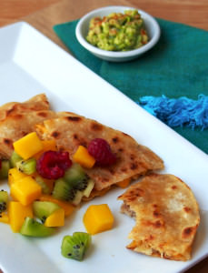 Garlic Pork Quesadillas with Fresh Mango Salsa | ComfortablyDomestic.com