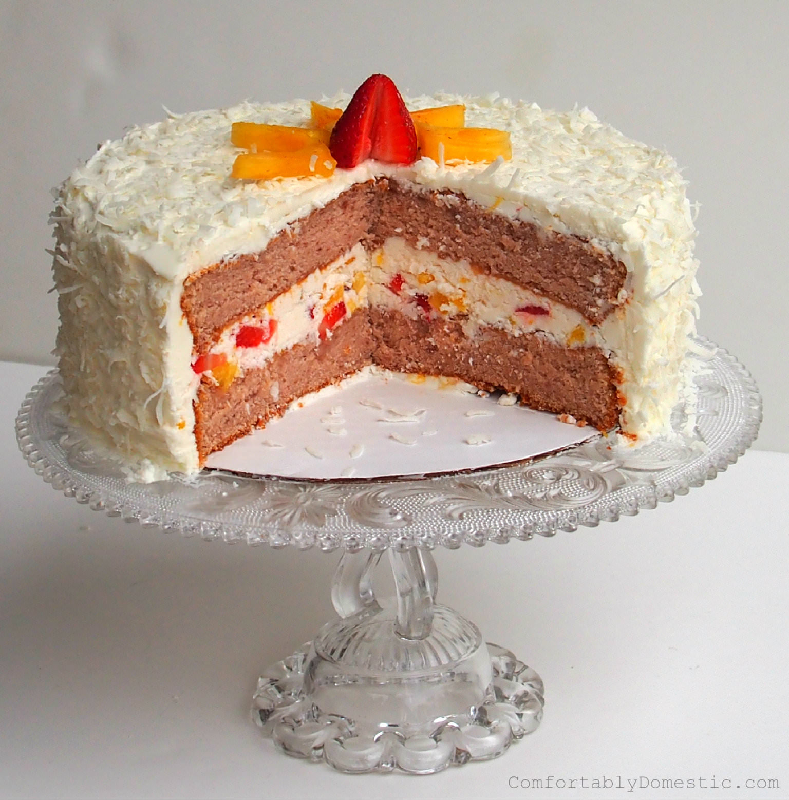 Strawberry Colada Cake with Coconut Buttercream Frosting | ComfortablyDomestic.com