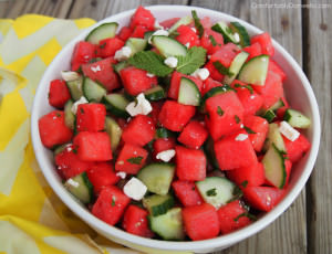 ComfortablyDomestic's Watermelon Cumber Salad with Feta, Mint and Lime