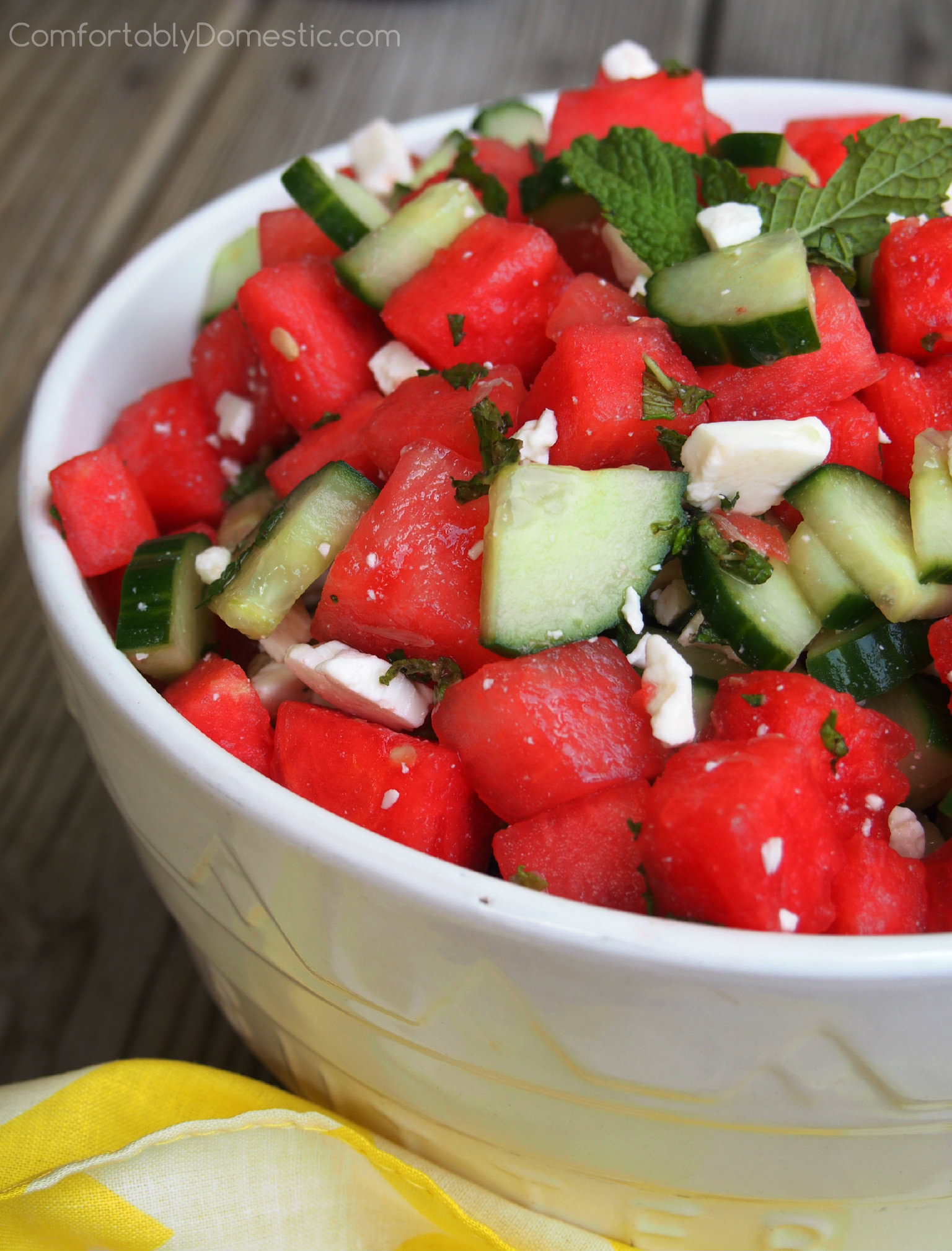 Watermelon Cucumber Salad with Feta, Lime, and Mint   ComfortablyDomestic.com