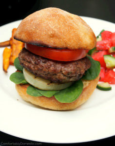 Feta Cheese Stuffed Lamb Burgers with Grilled Sweet Onions | ComfortablyDomestic.com