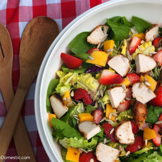 Summer Strawberry Mango Salad with Strawberry Poppyseed Vinaigrette | ComfortablyDomestic.com