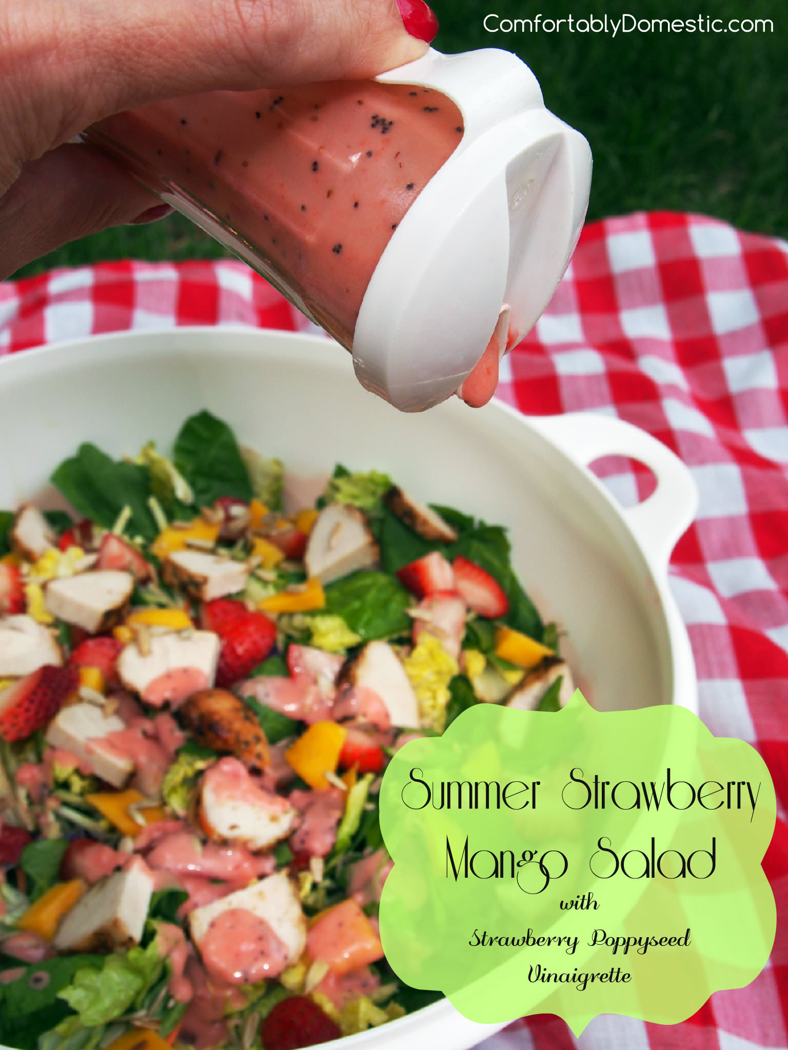 Summer Strawberry Mango Salad | ComfortablyDomestic.com