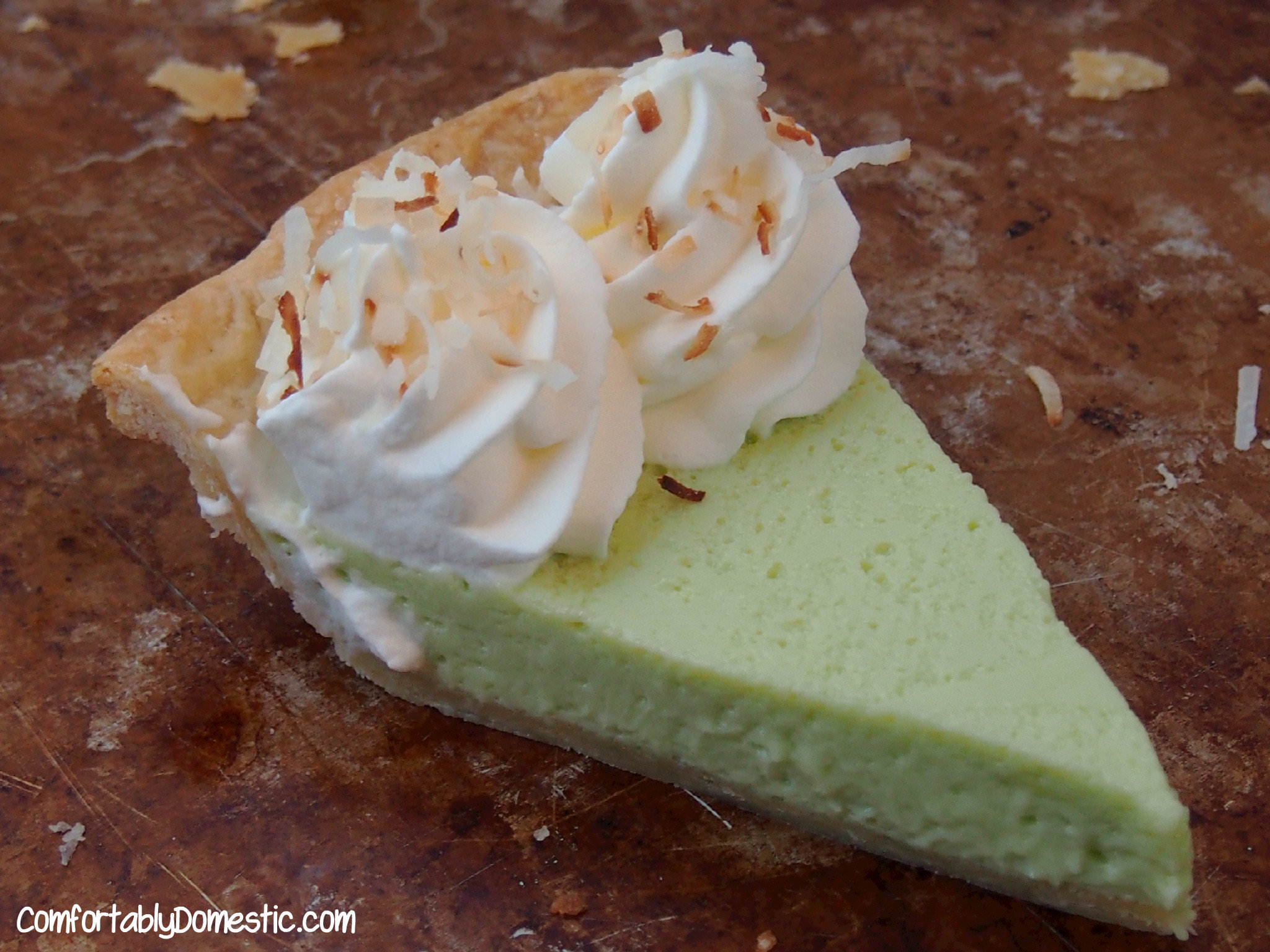 Key Lime Pie with Coconut Whipped Cream | ComfortablyDomestic.com