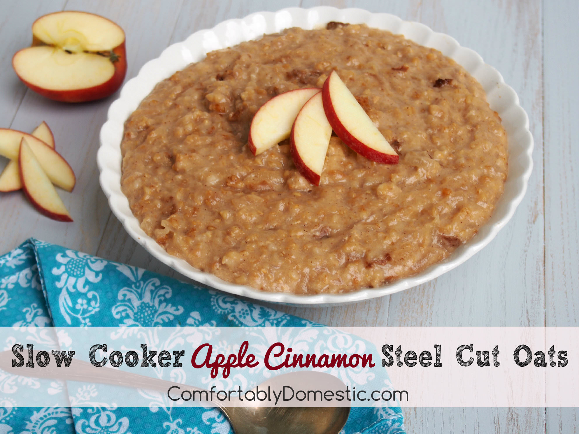 Slow Cooker Apple Cinnamon Steel Cut Oats | ComfortablyDomestic.com