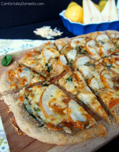 Pear and Caramelized Onion Flatbread | Recipe at ComfortablyDomestic.com