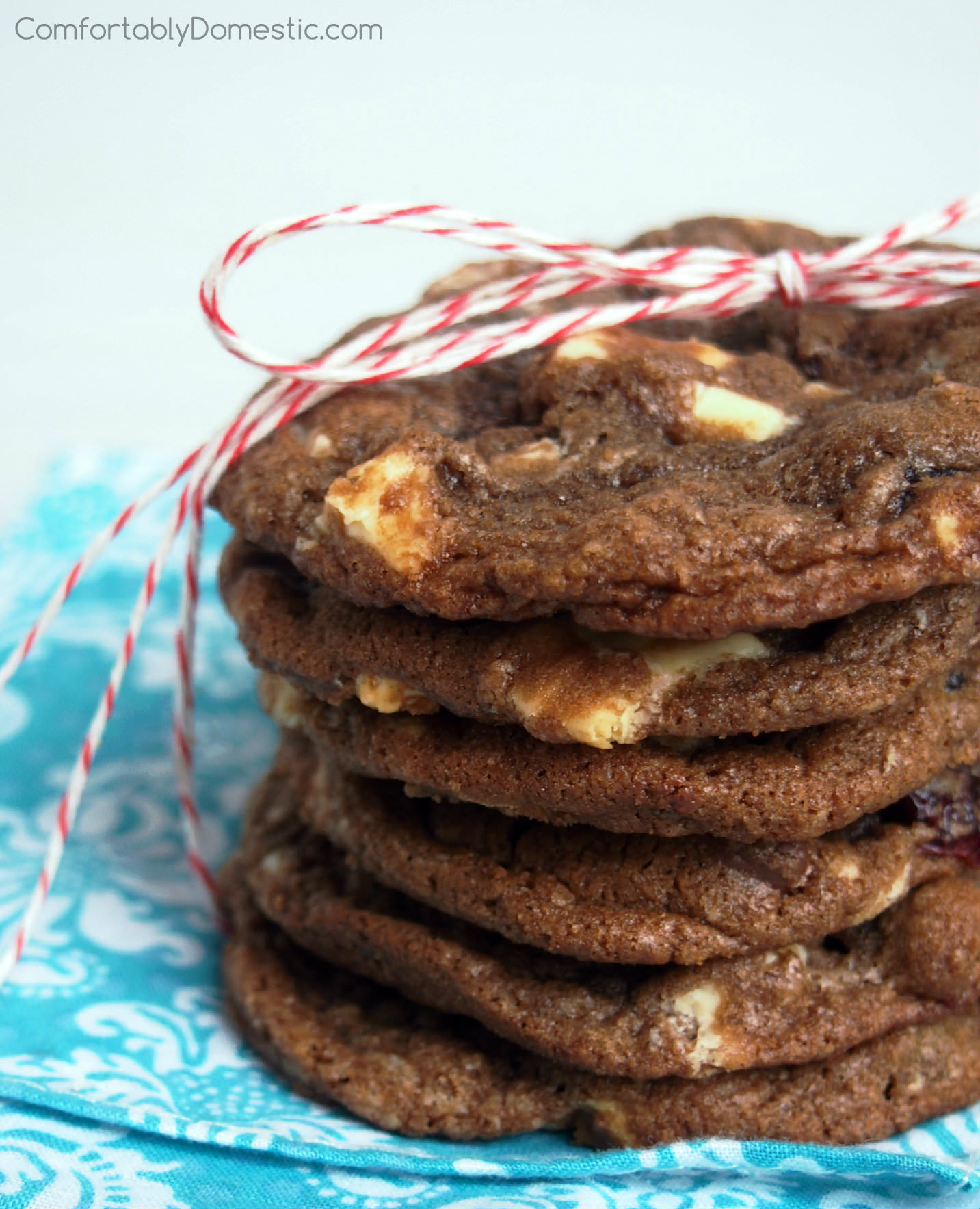 Double Chocolate Cranberry Cookies | ComfortablyDomestic.com are crisp yet chewy, rich and chocolaty cookies with tangy dried cranberries and smooth white chocolate chunks.