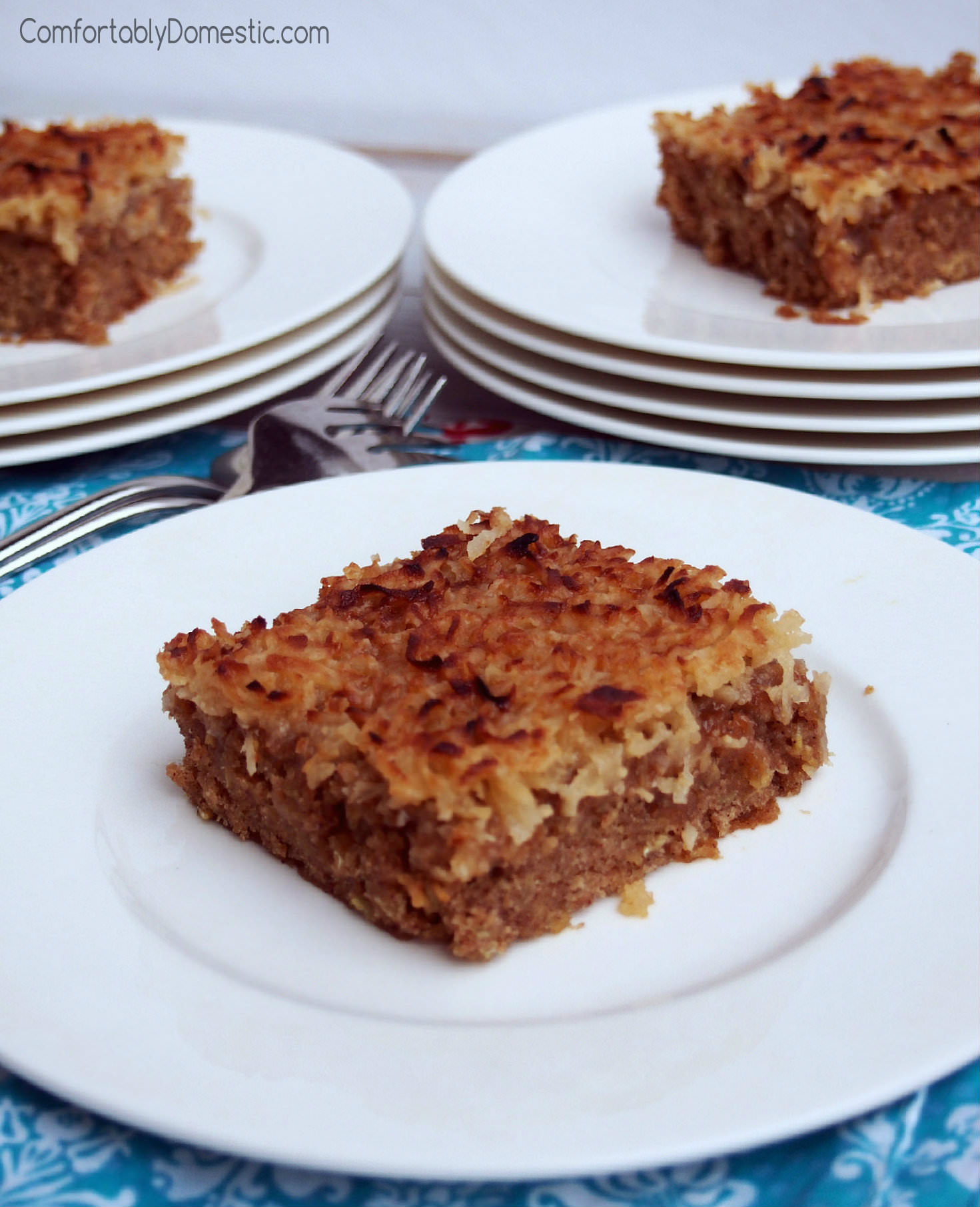 Old Fashioned Oatmeal Cake with Broiled Coconut Topping | ComfortablyDomestic.com