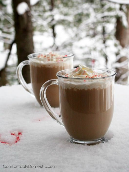 Peppermint Mocha Latte and Skinny Peppermint Mocha Latte - Strongly brewed coffee is tempered with brisk peppermint, rich chocolate, and creamy milk make for a deliciously decadent sipper at home for fraction of the fancy coffee shop price.| ComfortablyDomestic.com