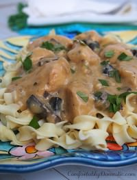 Chicken stroganoff has all the creamy comfort of beef stroganoff, made lighter with chicken. Comes together easily, making a delicious weeknight dinner. | ComfortablyDomestic.com