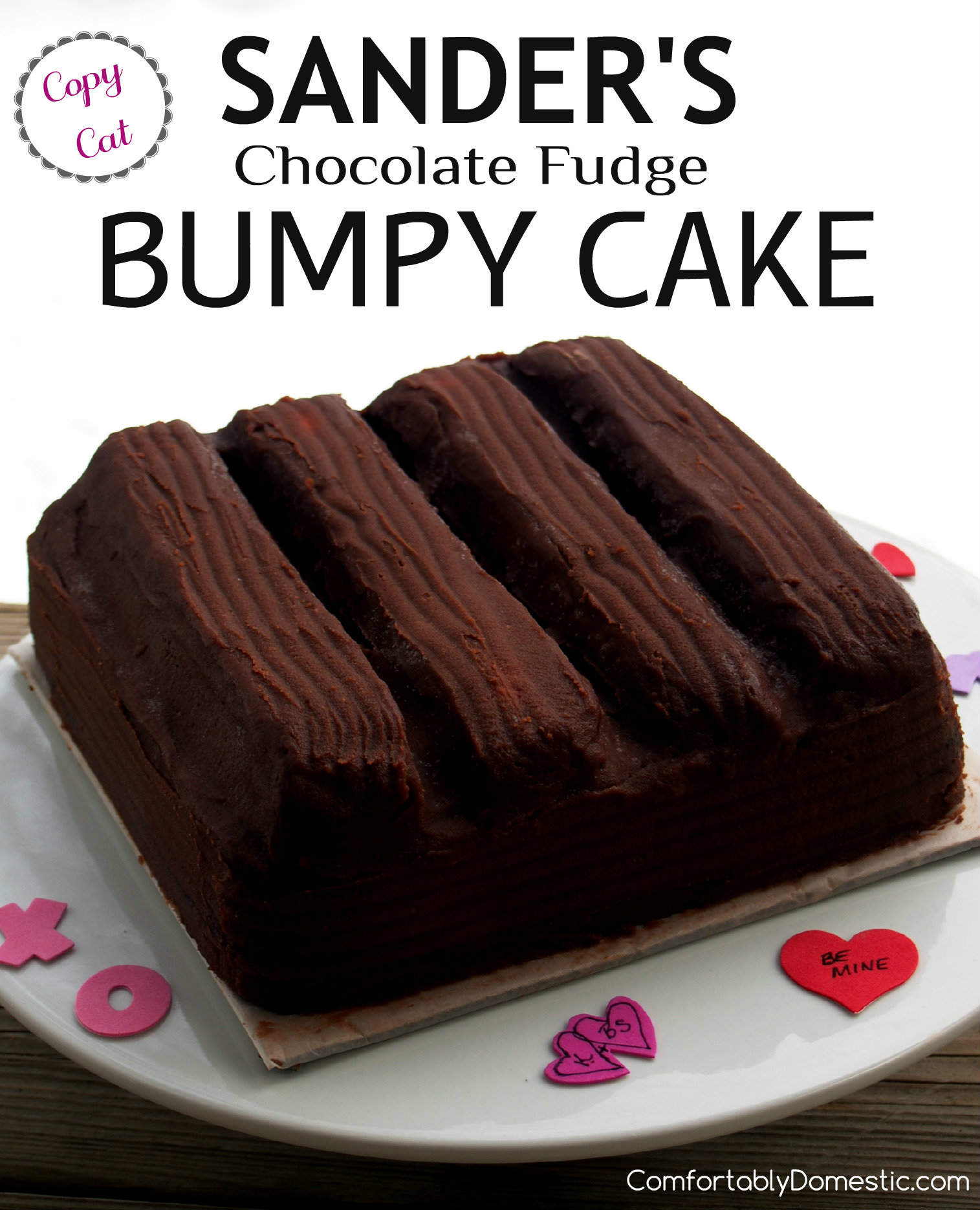 Chocolate Fudge Bumpy Cake is deliciously soft buttermilk chocolate cake, topped with cream filling and coated in pourable fudge. A homemade copycat recipe of the iconic Sander's Bumpy Cake, originally made in Detroit. | ComfortablyDomestic.com