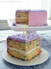 Serve a slice of whimsy with this festive butter cake with loads of colorful sprinkles baked inside. Funfetti Sprinkle Cake brings child-like wonder to every occasion. | ComfortablyDomestic.com