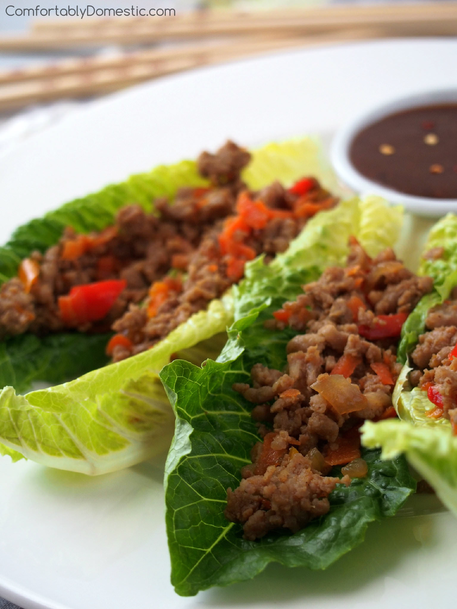 P.F. Chang's lettuce wraps are delicious, but this recipe is better! A lighter version of the sweet, salty, savory P.F. Chang's lettuce wraps, made with a blend of ground turkey and lean pork, shredded vegetables, and a tasty soy-ginger sauce that is fantastic on just about everything. | ComfortablyDomestic.com
