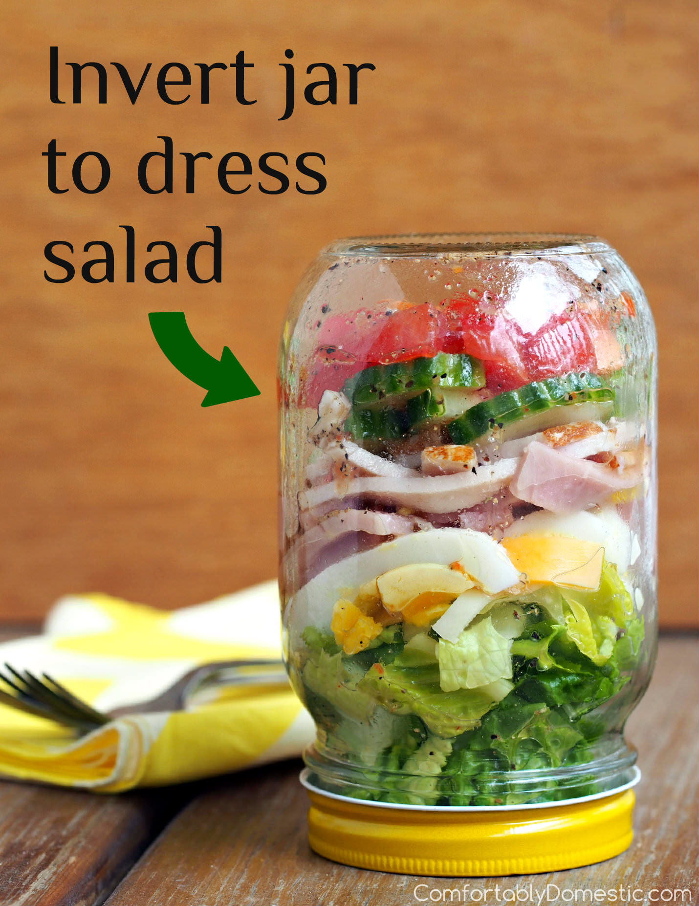 Chef Salad in a Jar - a great make-ahead lunch idea! | ComfortablyDomestic.com