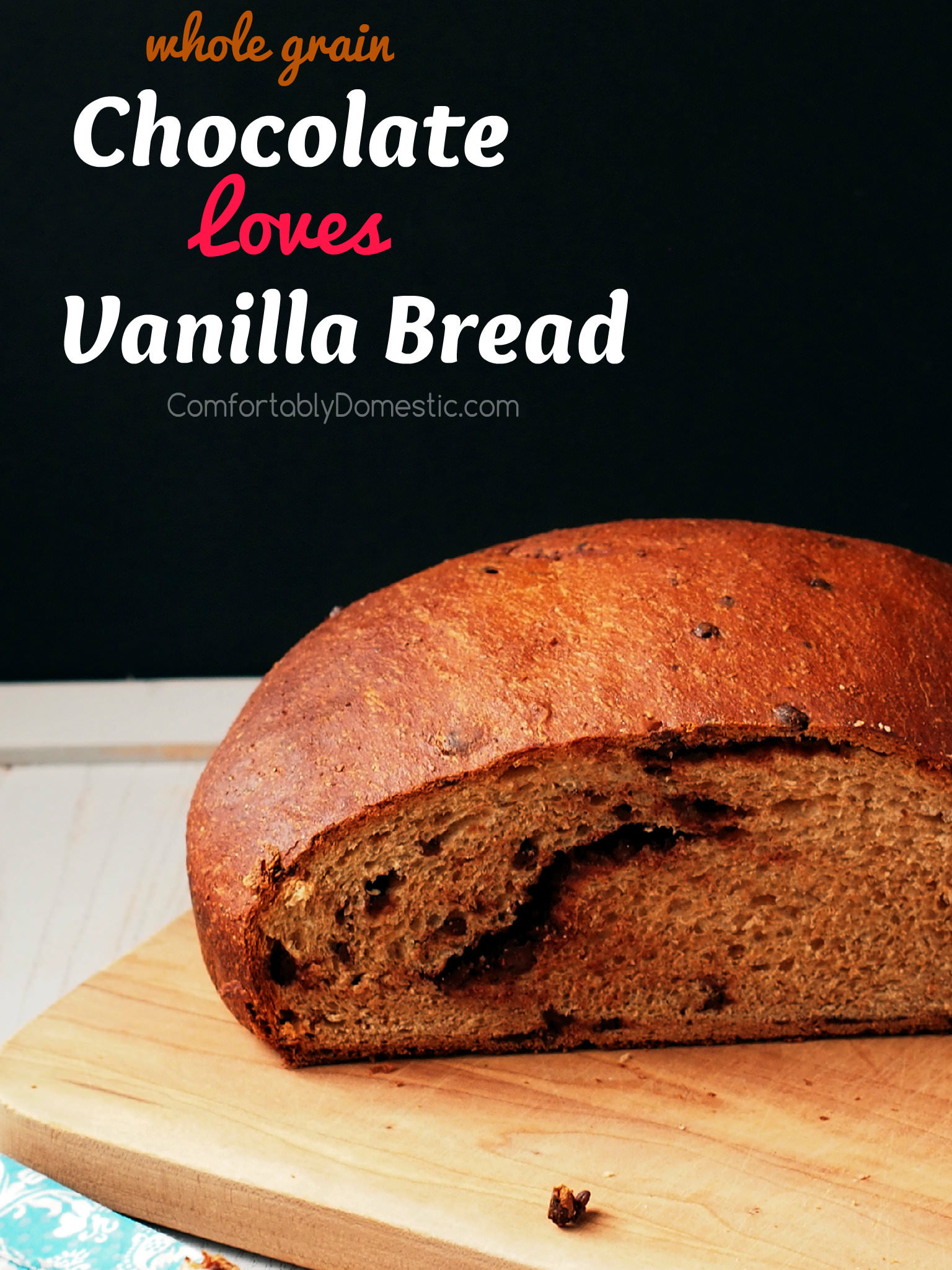 Chocolate loves vanilla, especially in this sweet bread! Sweet, vanilla-infused whole grain sweet dough with a generous helping of chopped chocolate kneaded into tender loaves. | ComfortablyDomestic.com
