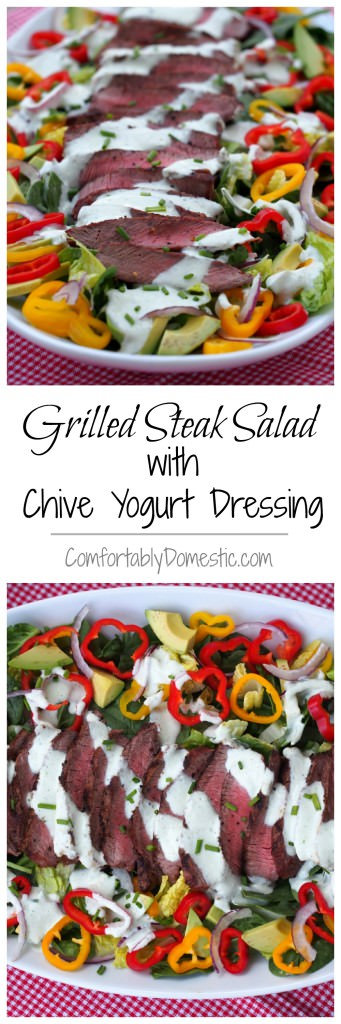 Grilled Steak Salad Chive Yogurt Dressing | ComfortablyDomestic.com