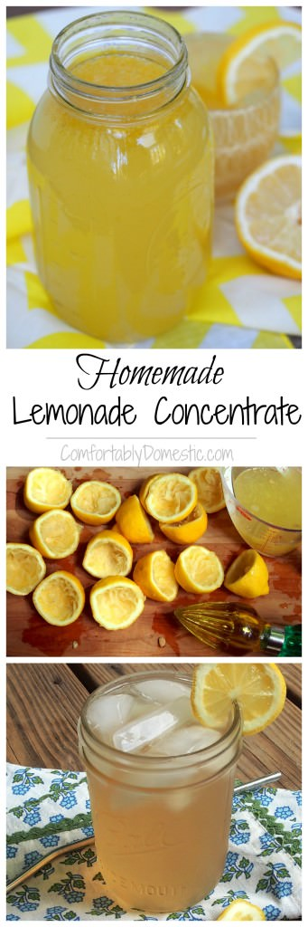 Homemade Lemonade Concentrate - This is a copycat recipe for Minutemaid frozen lemonade concentrate. | ComfortablyDomestic.com