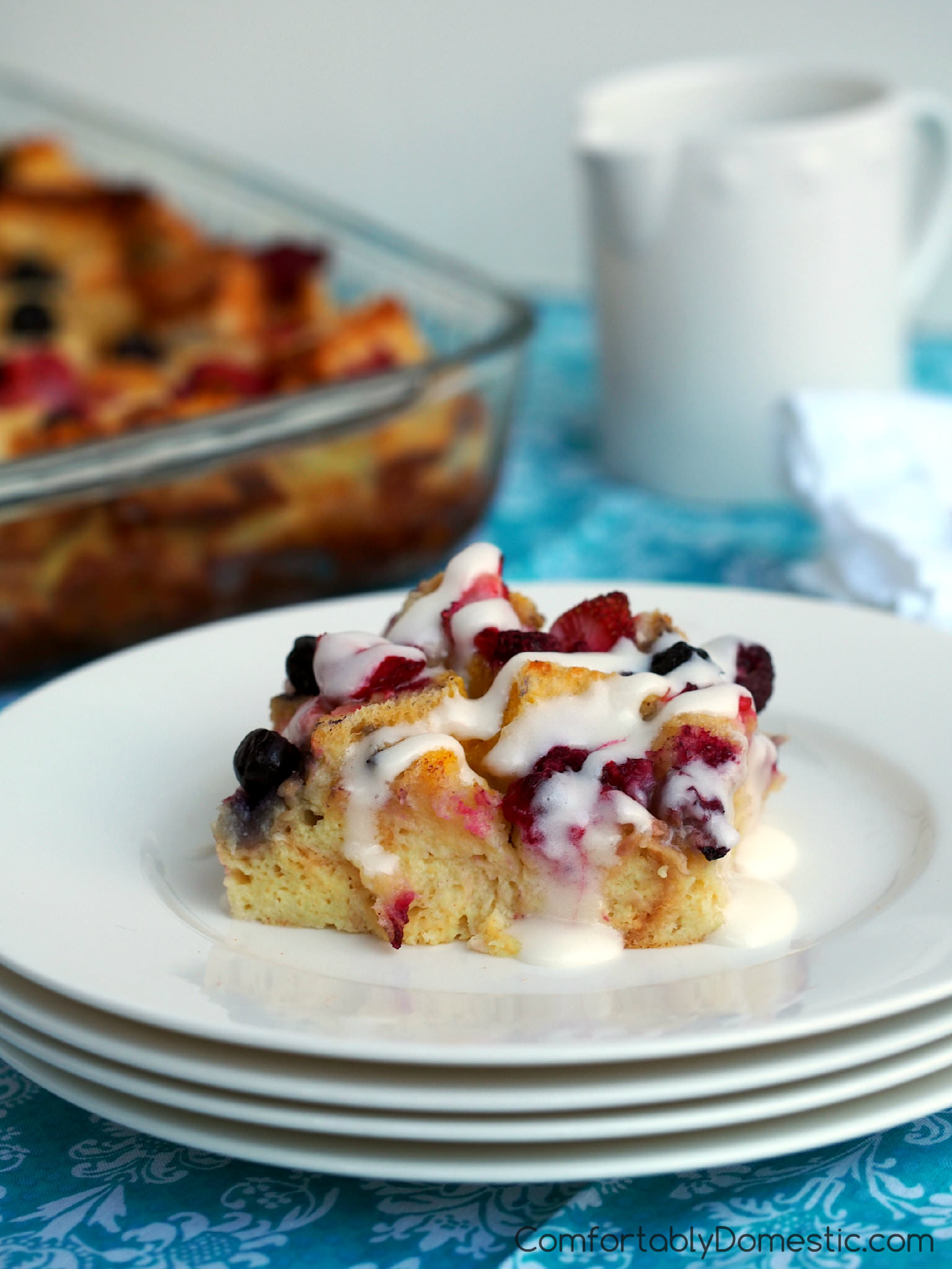 Mixed Berry Baked French Toast Casserole | ComfortablyDomestic.com