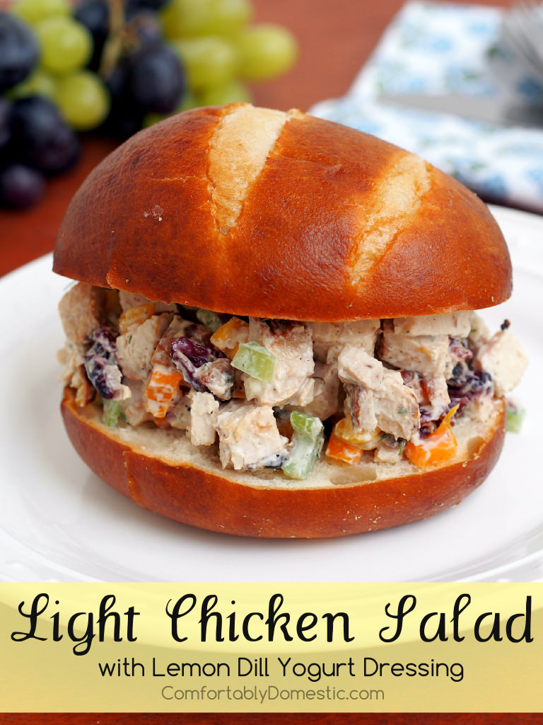 Light Chicken Salad with Lemon Dill Yogurt Dressing | ComfortablyDomestic.com