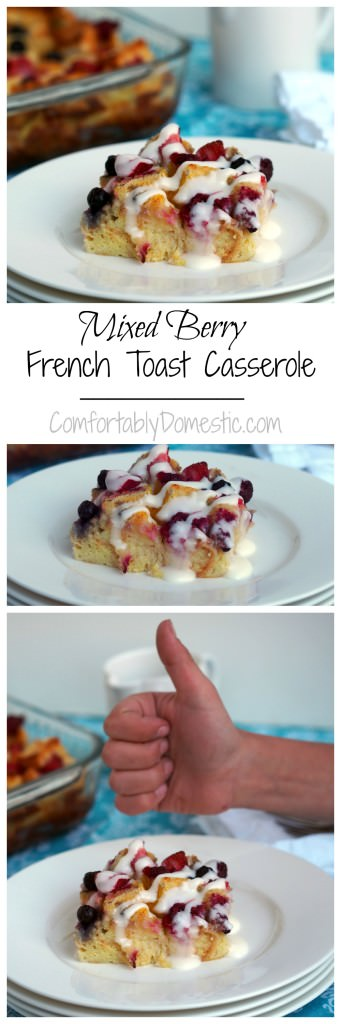 Mixed-Berry-Baked-French-Toast-Casserole-Cream-Cheese-Icing | ComfortablyDomestic.com - Crusty bread sprinkled with a variety of berries, soaked in a loose, sweet vanilla batter before baked to near custard consistency. Drizzled with cream cheese icing, Mixed Berry Baked French Toast is a delightfully decadent breakfast for all occasions.