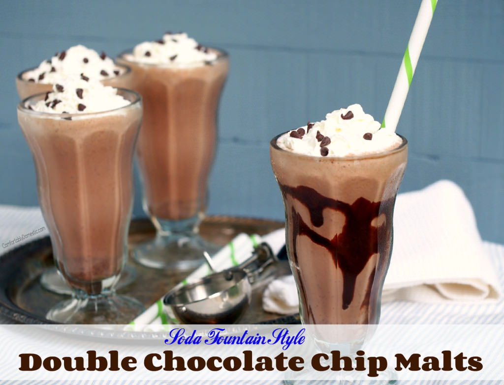 Double Chocolate Chip Malts taste like sipping on frozen malted milk ball candy. A thick, deep chocolate malted milkshake crafted in the classic soda fountain style.  | ComfortablyDomestic.com