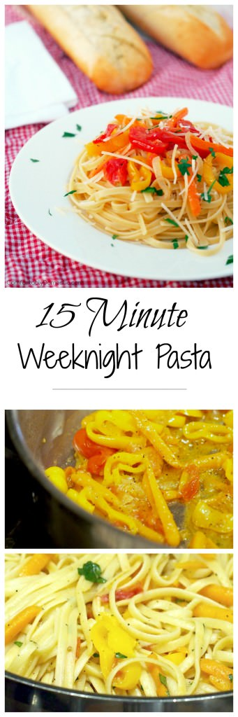 15-Minute Weeknight Pasta Recipe - Seasonal vegetables rest a top pasta tossed with a simple sauce for a scrumptious weeknight meal that is ready in 15 minutes. | ComfortablyDomestic.com