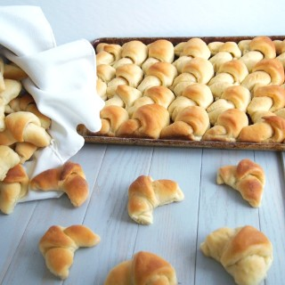 Homemade-Crescent-Rolls-from-Scratch - Crescent style rolls made from scratch are soft, buttery, and just slightly sweet—so much better than the canned variety. | ComfortablyDomestic.com
