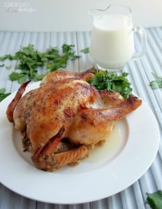 Milk Braised Chicken is so tender, it falls off of the bone! Oven roasted chicken is braised with milk to seal in the juices, making this a delicious weeknight dinner. | ComfortablyDomestic.com