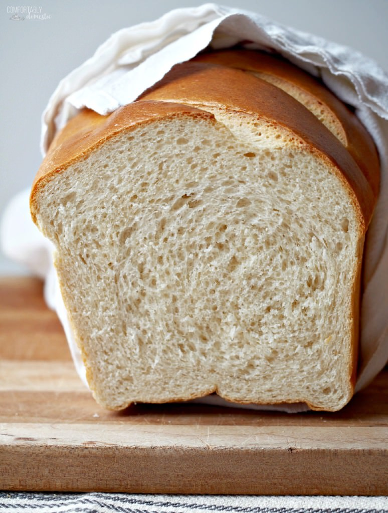 Honey-White-Bread is luxuriously soft and fluffy—perfectly happy slathered with butter and served with a meal as it is as a canvas for building a really great sandwich. | ComfortablyDomestic.com