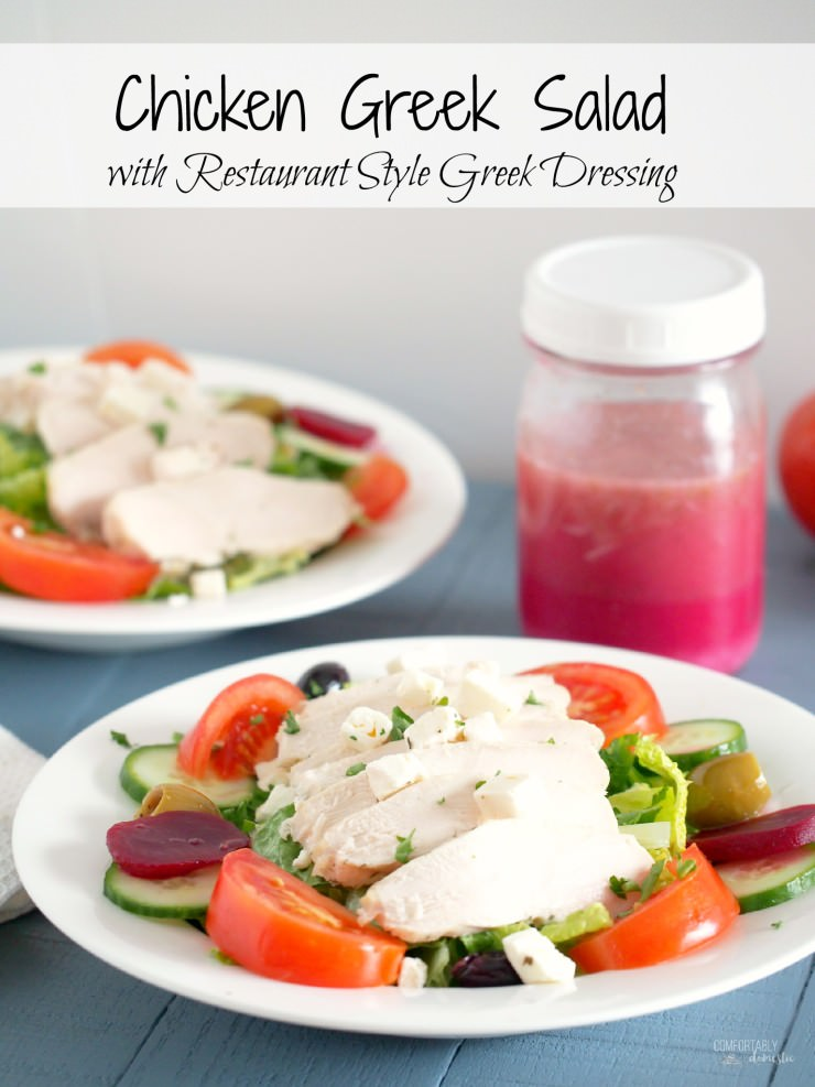 Chicken-Greek-Salad rests tender chicken atop such traditional ingredients as crisp greens, pickled beets, tomato, cucumber, olives, red onion, plenty of feta cheese, and a healthy drizzle of restaurant style Greek dressing. A healthy, delicious low lactose meal! | ComfortablyDomestic.com