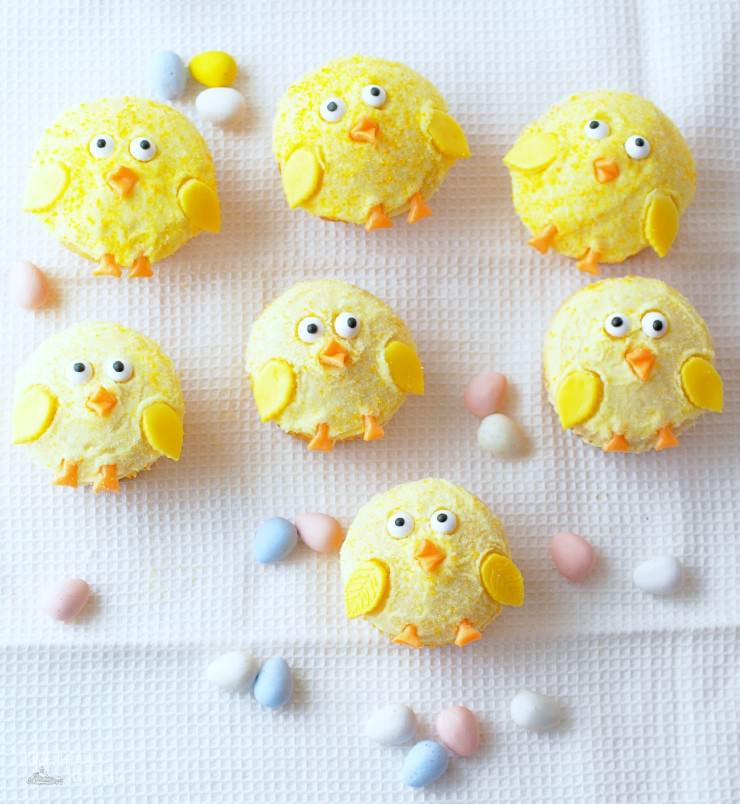 Baby-Chick-Cupcakes are bright lemon cupcakes all dressed up as baby chicks for sweet treats that are destined to bring a smile to Easter and baby shower dessert tables.
