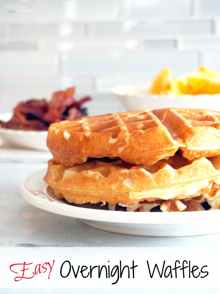 Easy-Overnight-Waffles are made with a simple yeast batter that comes together in minutes, rises in the refrigerator overnight, and results in a gloriously fluffy and light waffle without the need for much hands on preparation.