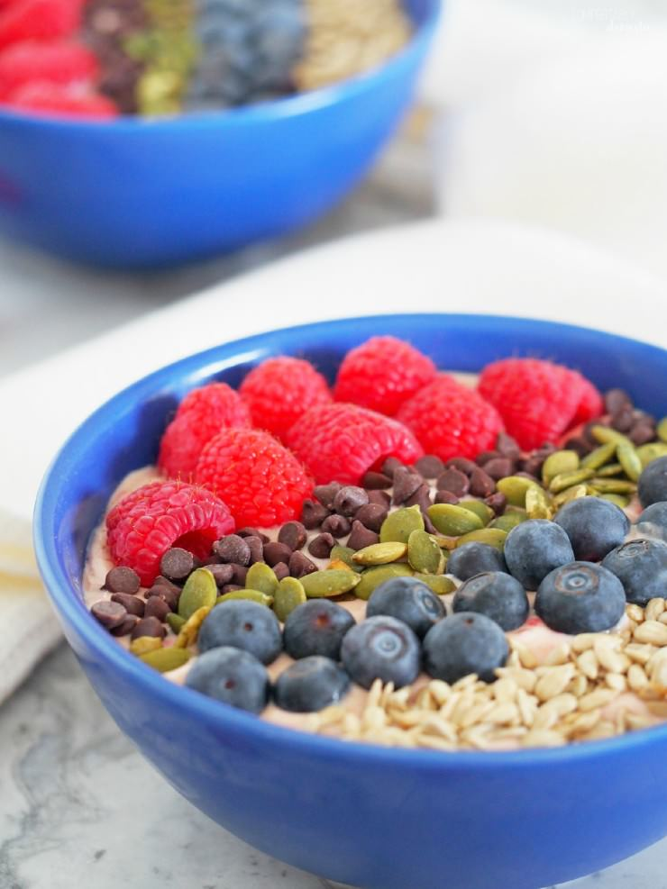 Tart-Cherry-Smoothie-Bowls-with-Avocado are extra thick smoothies full of filling protein, healthy fats and a balance of sweet and tart fruits, and topped with plenty of crunch for a complete meal.