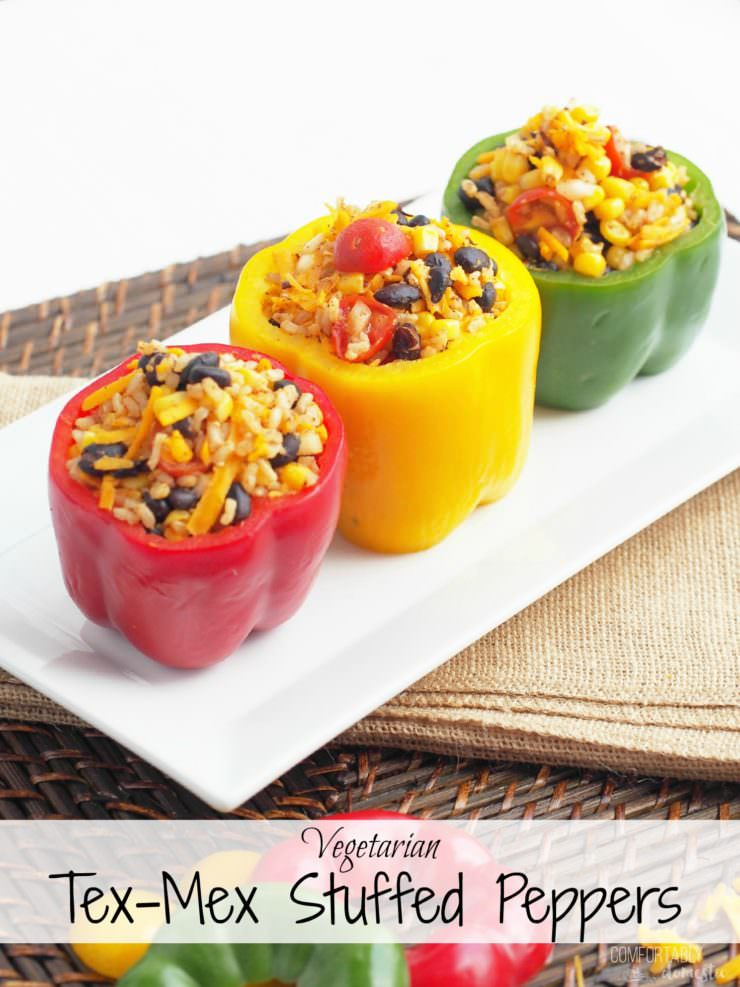 Vegetarian-Stuffed-Peppers-add-Tex-Mex-flavor-to sweet bell peppers filled with a combination of chewy brown rice, tender black beans, garden fresh vegetables, tangy cheese, and blend of southwest seasonings to make these healthy morsels anything but bland or ordinary.