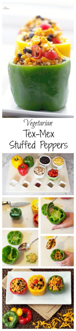 Vegetarian-Stuffed-Peppers-add-Tex-Mex flair to sweet bell peppers filled with a combination of chewy brown rice, tender black beans, garden fresh vegetables, tangy cheese, and blend of southwest seasonings to make these healthy morsels anything but bland or ordinary.