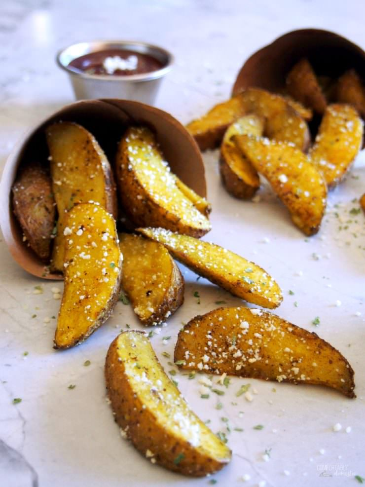 Baked-Potato-Wedges-Steak-Fries are perfectly seasoned bites of fluffy pub-style steak fries to compliment most any meal.