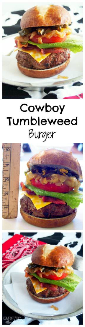 "Cowboy-Tumbleweed-Burger is a thick grilled patty of seasoned Certified Angus Beef and chorizo, topped ""cowboy style"" with melted cheddar cheese, crisp bacon, sweet caramelized onions, tangy slices of pickled jalapeno peppers, and all of the fixings."