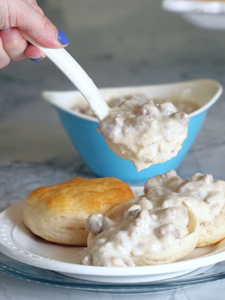 Lighter-Turkey-Sausage-Gravy is every bit as creamy and dreamy as the full fat variety but with nearly half of the fat and calories. The lightened up version of this Southern classic is still pure comfort food!