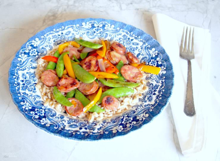Sausage-Stir-Fry is an easy weeknight dinner that can be on the table in about 20 minutes. Made with quality Aidell's sausage and a load of fresh vegetables, this healthy meal is one you can feel good about feeding the family.