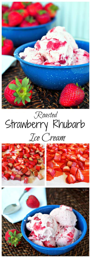 Roasted Strawberry Rhubarb Ice Cream bakes juicy, roasted strawberries and tangy rhubarb in the oven, caramelizing and drawing sweetness to the forefront. When blended with a simple vanilla pudding and frozen in an ice cream maker, this sweet frozen treat becomes a taste of summer.