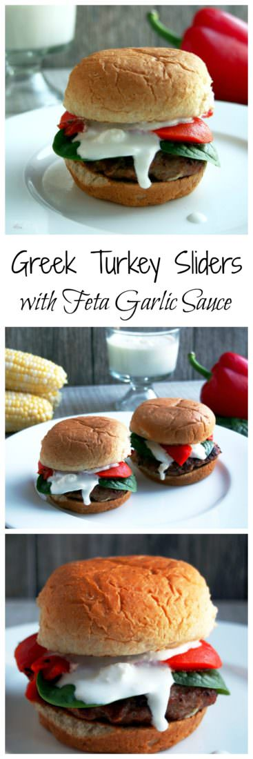 Greek-Turkey -Slider-Burgers are juicy, fun-sized lean ground turkey burgers that are well seasoned with Greek-inspired herbs and spices, seared over a hot grill to seal in the juices, and topped with a fantastic feta cheese sauce.