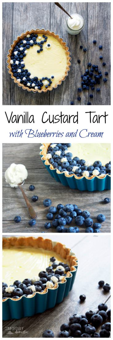 Vanilla-Custard-Tart-with-Blueberries-and-Cream is a fresh and light summer dessert featuring creamy vanilla bean custard topped with a smattering of fresh blueberries and a touch of whipped cream.