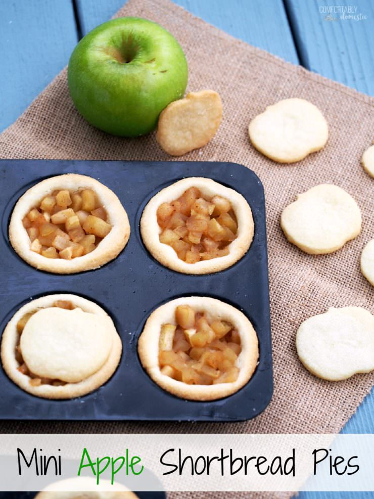Mini-Apple-Shortbread-Pies marry ripe, juicy apples with cinnamon sugar for a delightful pie filling nestled in a buttery cookie crust. These individual apple pies are full of all the comforts of fall.