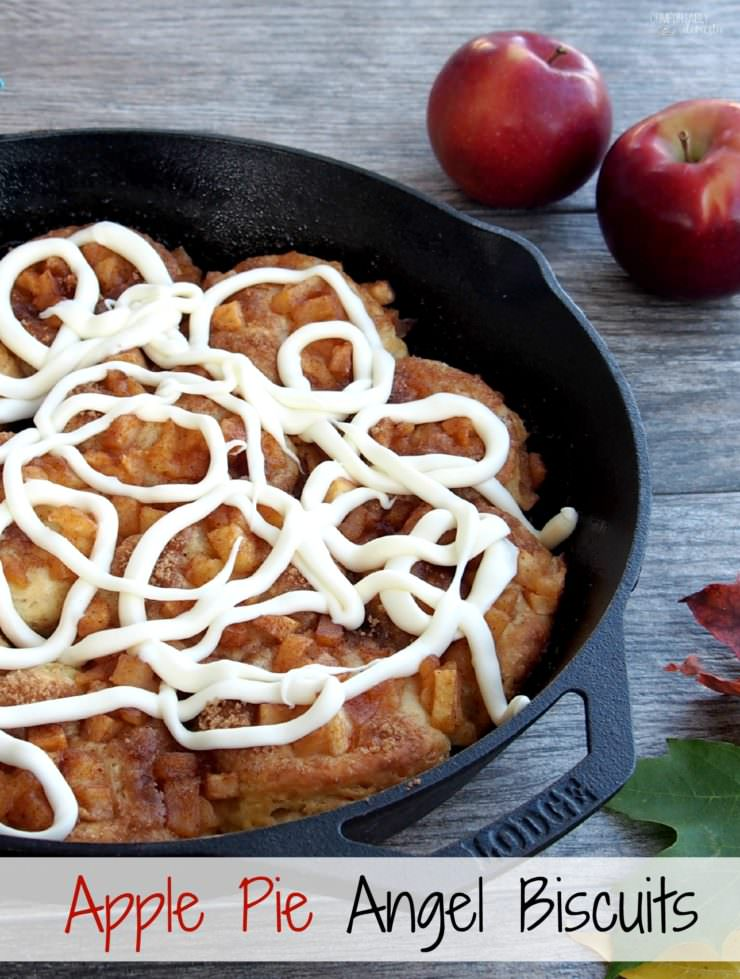 Apple-Pie-Angel-Biscuits are southern style biscuits baked in a cast iron skillet and topped with cinnamon apple pie filling and elegant drizzle of gooey cream cheese icing.