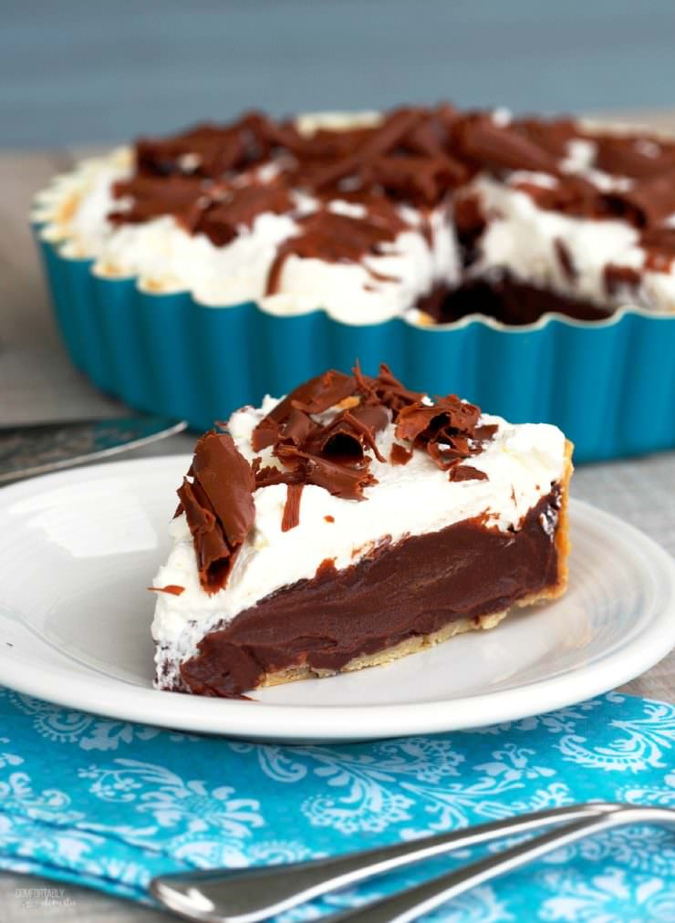 Chocolate-Cream-French-Silk-Pie is a silky, smooth and creamy chocolate pie topped with lightly sweetened whipped cream and glorious milk chocolate shavings.