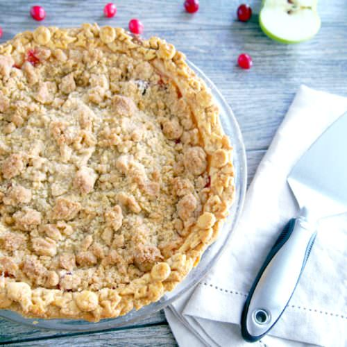 Cranberry-Apple-Crumb-Pie marries sweet apples with tangy fresh cranberries and a crunchy crumble topping for a festive pie that's full of bright flavor.