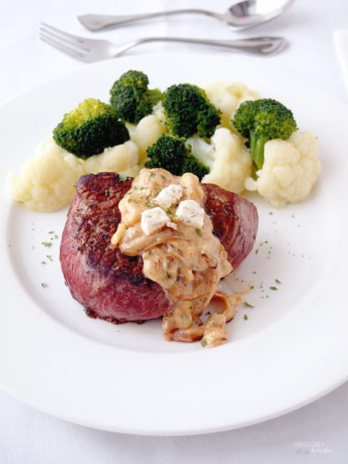 Sirloin-Steaks-with-Creamy-Onion-Sauce pairs cast iron seared, succulent beef sirloin with a rich onion cream sauce to bring an easy, elegant dinner to the table in about 20 minutes!