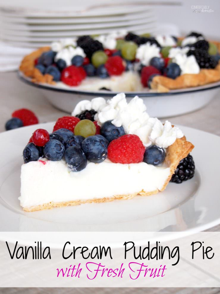 Vanilla-Cream-Pudding-Pie is a delightfully simple pie with creamy vanilla pudding, fresh berries and plenty of whipped cream nestled in a buttery crust. The egg-free filling is a snap to make from scratch!