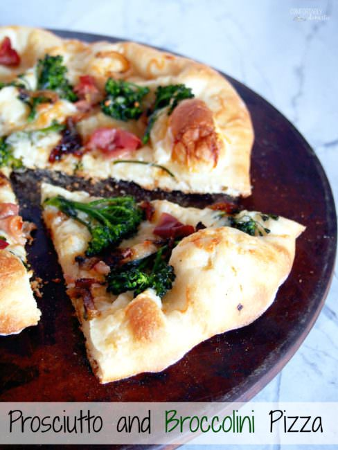 Prosciutto Broccolini Pizza proves that simple pizzeria style pizza is easily made at home! The chewy, thin crust pizza dough brushed with garlic butter, then topping it salty prosciutto, earthy broccolini, sweet caramelized onions, and shaved Asiago cheese is a taste to behold.
